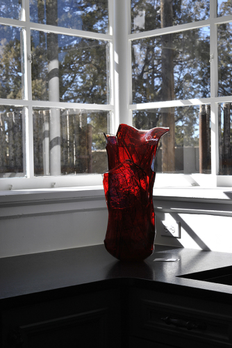 Red Rising glass vessel by Suzanne Wallace Mears